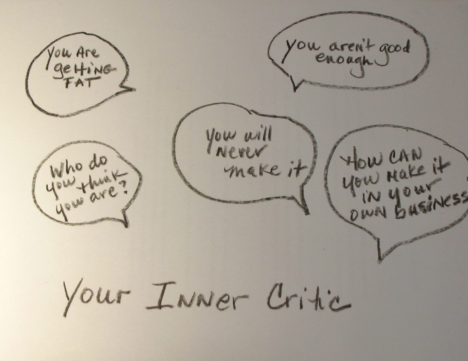 inner critic This inner critic might meet you at work you're under too much pressure you'll  never get everything done no one even notices you you should just give up.