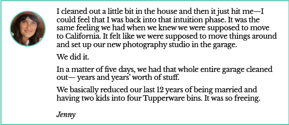 Jenny quote on decluttering garage